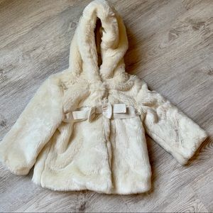 Baby Gap Furry Hooded Coat, Size 12-18 Months